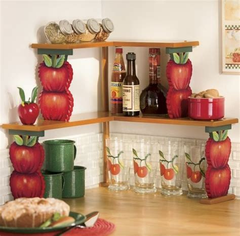 apple double corner shelves  red country apple themed