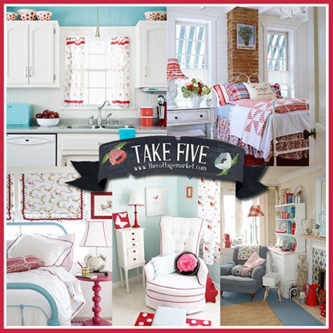 aqua  red cottage style decor  cottage market