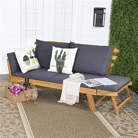 tangkula acacia wood patio convertible couch sofa bed  adjustable armrest outdoor daybed