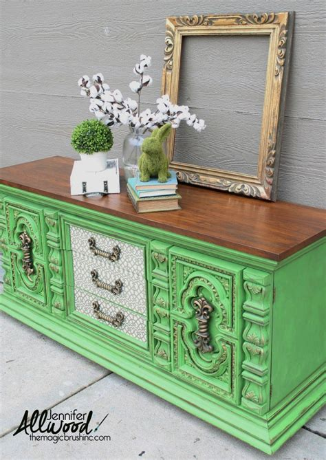 hometalk bold green dresser makeover  decoupage drawers