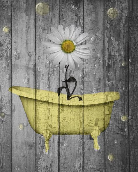 rustic yellow daisy flowers bathtub vintage bathroom