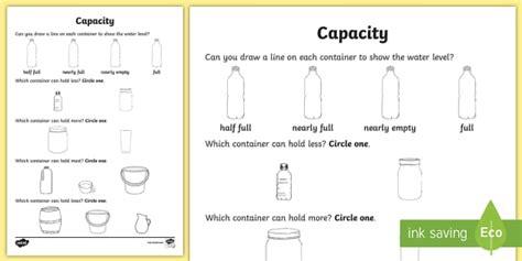 everyday objects capacity worksheet activity sheet