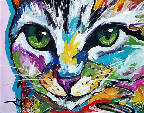 abstract original art colorful canvas painting  cat