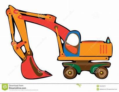 Digger Cartoon Excavator Orange Clipart Background Isolated