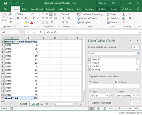 pivot table in excel 2016 ms excel 2016 how to show bottom 10 results in a pivot table