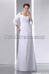 Ivory Chiffon Modest 3/4 Long Sleeves Prom Dress for Plus ...