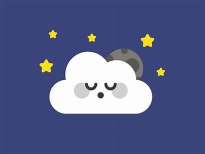 Sleeping Dribbble Night Animation Moon Sun Cloud