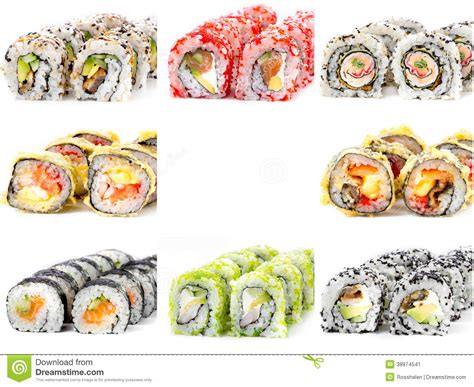 Eight Different Sushi Rolls , White Background Stock Image