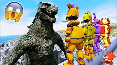Animatronics Vs Godzilla! (gta 5 Mods For Kids Fnaf