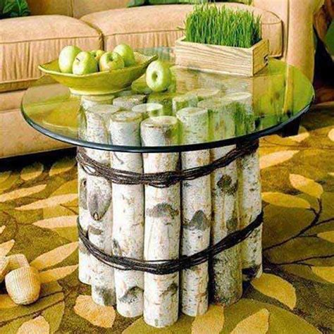 birch log table easy diy wood projects for beginners