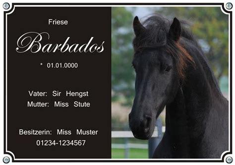 typ  stallschild mit daten und foto von ihrem pferd
