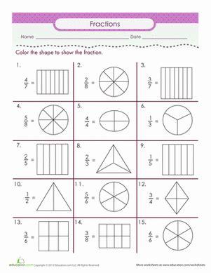 color the fraction worksheet education
