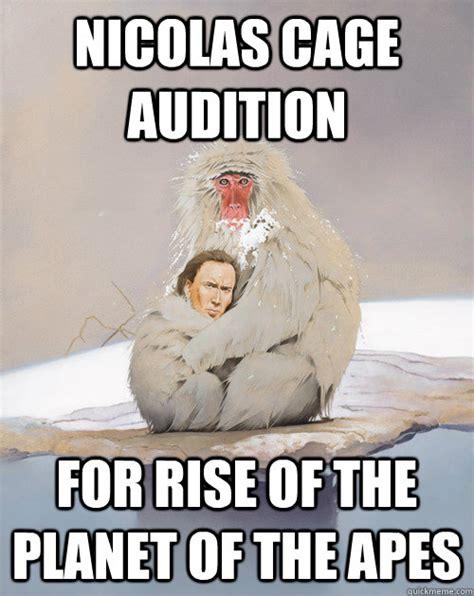 Planet Of The Apes Meme - nicolas cage audition for rise of the planet of the apes nicolas cage monkey cuddle quickmeme