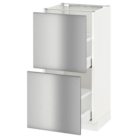 ikea stainless kitchen cabinets metod maximera base cabinet with 2 drawers white grevsta stainless steel 40x37 cm ikea