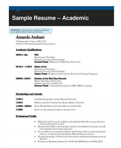 academic curriculum vitae templates