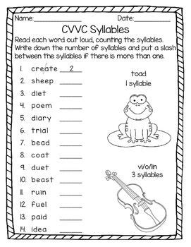 syllable patterns c le vcccv and cvvc no prep