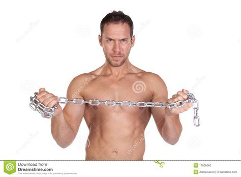 Young Muscular Man With A Chain Young Muscular Man With Male Models Picture