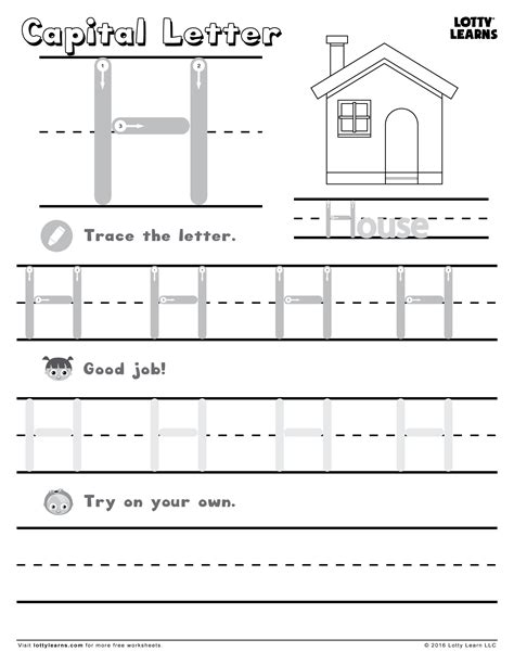 Capital Letter H  Lotty Learns  Abc Printables (uppercase)  Pinterest  Learning, Phonics And