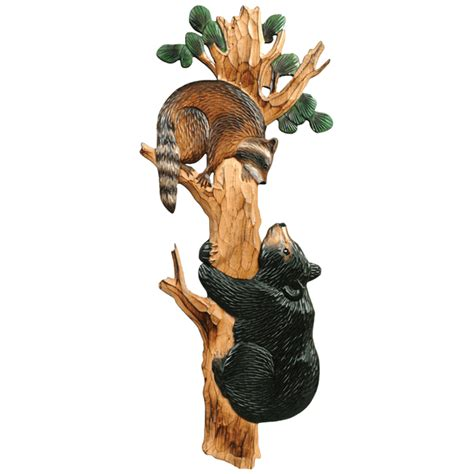 bear raccoon wood wall hanging