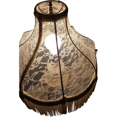 antique l shades with fringe antique lace and fringe l shade restored in shabby