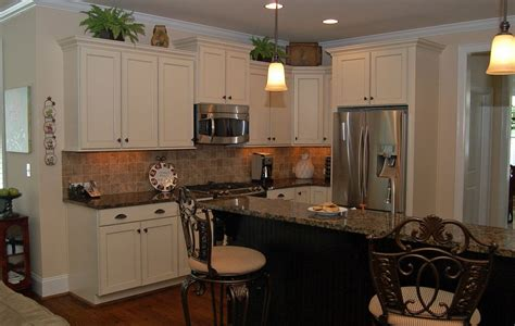 Kitchen Brown Granite Countertops With Porcelain Tile