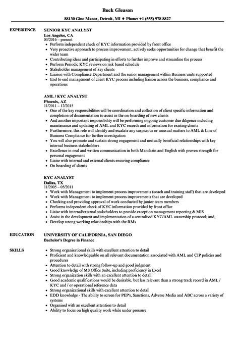 kyc analyst resume samples velvet jobs