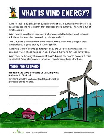 what is wind energy worksheets homeschool and students