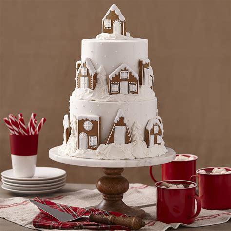 tier gingerbread cake snowy village wilton