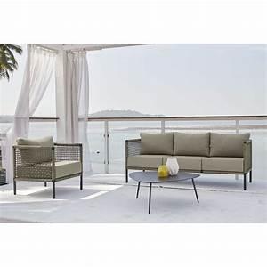 Canapé Jardin Pas Cher : canap de jardin 3 places bermudes en r sine tress e taupe ~ Premium-room.com Idées de Décoration