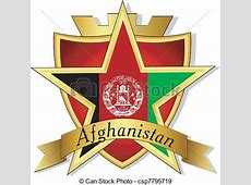 EPS Vectors of Vector gold star to the flag of Afghanistan