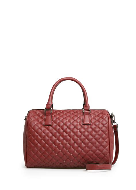 lyst mango quilted bowling bag  brown