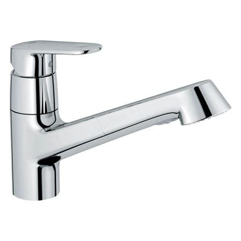 how to install a grohe kitchen faucet shop grohe europlus starlight chrome 1 handle pull out