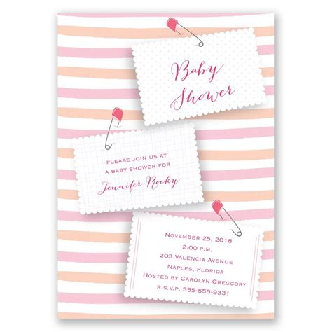 Pink Diaper Pins Baby Shower Invitation Invitations By Dawn