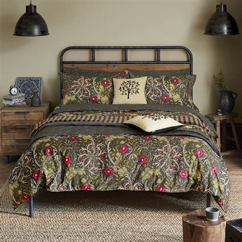 grey and yellow throw william morris seaweed bedding in black at bedeck 1951