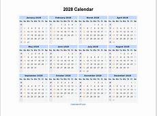 2028 Calendar Blank Printable Calendar Template in PDF
