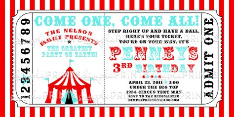 carnival ticket template circus tent ticket printable invitation dimple prints shop