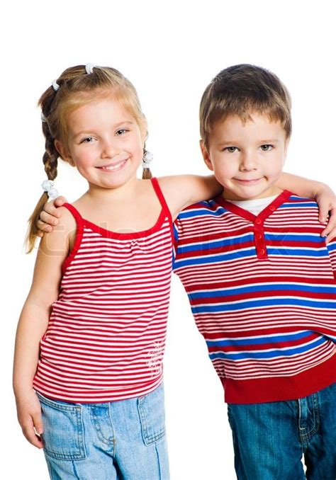 Little Boy And Girl Hugging Isolated On White Stock