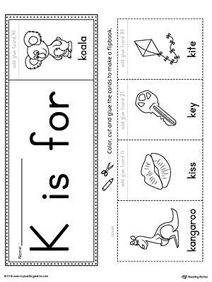 color beginning with k letter k beginning sound flipbook printable
