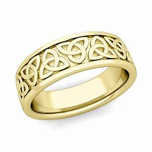 Trinity Celtic Knot Wedding Band His 14k Gold Comfort Fit