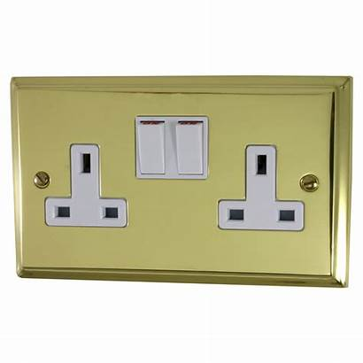Brass Socket Double Switches Polished Deco Sockets