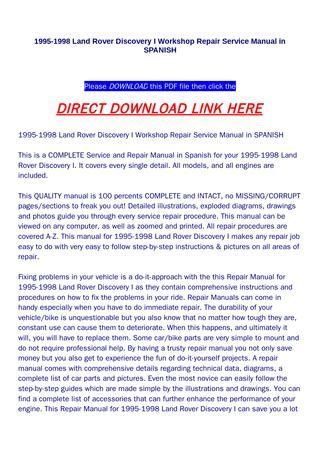 how to download repair manuals 1995 land rover discovery auto manual 1995 1998 land rover discovery i workshop repair service manual in spanish by huou issuu