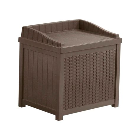 Suncast Deck Box Home Depot by Suncast Resin Wicker Storage Seat The Home Depot Canada