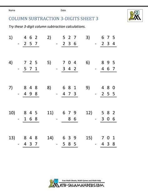 Use strategies such as counting on; 3 Digit Subtraction Worksheets