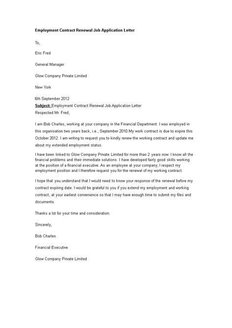 Employment Contract Renewal Job Application Letter | Templates at allbusinesstemplates.com