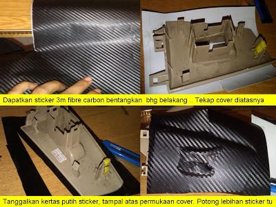fire starting automobil diy pasang sticker carbon fibre kereta
