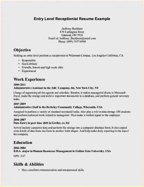 Resume Objective For Entry Level entry level high school resume resume template cover