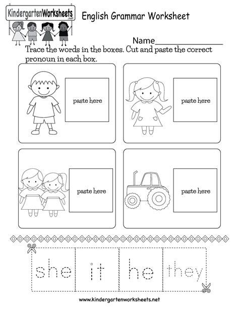 printable english grammar worksheet  kindergarten