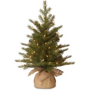 national tree pre lit 2 39 feel real nordic spruce small artificial tree in burlap with