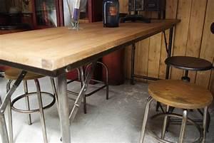 Table Haute En Bois : table haute par le marchand d 39 oublis ~ Dailycaller-alerts.com Idées de Décoration