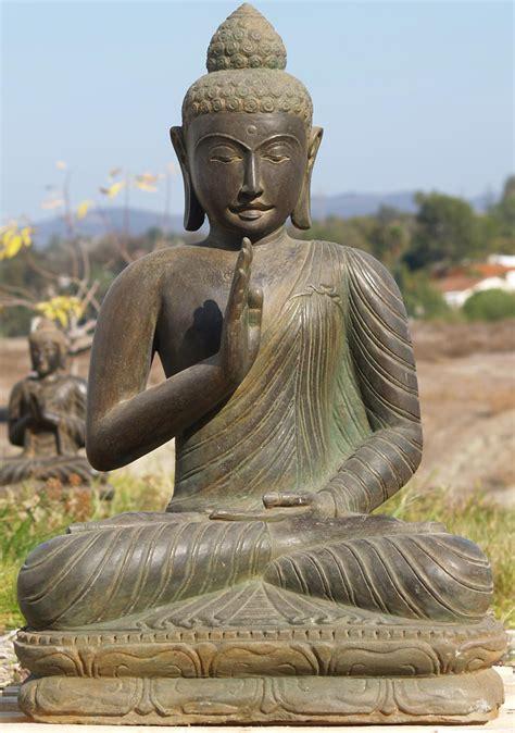sold stone abhaya garden buddha statue  ls